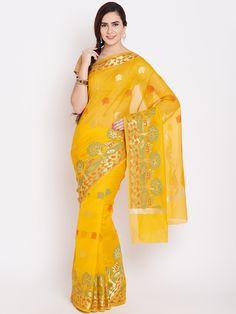Buy Bunkar Yellow Patterned Banarasi Saree -  - Apparel for Women from Bunkar at Rs. 2499