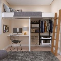 Ideas for furnishing a one-room apartment and suitable multifunctional furniture – Decor Small Room Design Bedroom, Room Ideas Bedroom, Home Room Design, Bedroom Loft, Space Saving Bedroom, Men Bedroom, Bedroom Decor, Loft Beds For Small Rooms, Small Apartment Bedrooms