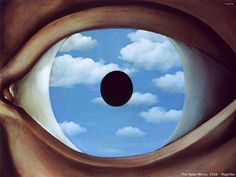 Rene Magritte - The falce mirrow (silmän valepeili) - surrealismi (silmä on sielun peili taustaa).