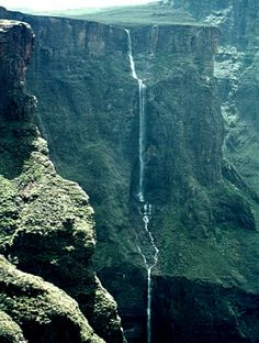 The Drakensberg's Tugela Falls, the world's second highest waterfall with a total drop of 948m (3,110ft) in 5 free-leaping falls.  Tugela Falls from Vertical Endeavour.