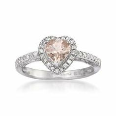 .70 Carat Pink Morganite and .25 Diamond Heart Ring in Sterling Silver Ross-Simons. $227.50