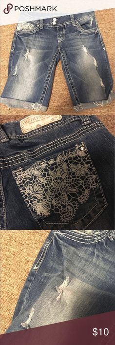 Denim shorts Like new distressed denim shorts from Amethyst.  Excellent condition with no rips or stains Amethyst Jeans Shorts Jean Shorts