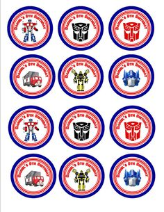 Transformers Cupcake Decoration Toppers