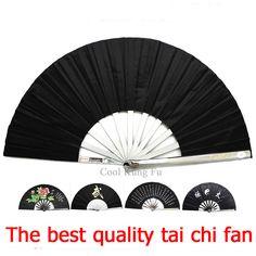 Tai Chi Fan noir équipements d'arts martiaux en acier Inoxydable kung fu fan senior Arts Martiaux fan fer ventilateur Portable Auto-défense