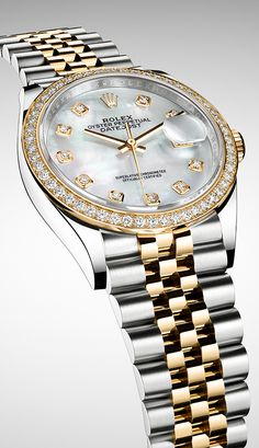The yellow Rolesor version of the new Rolex Datejust 36 is offered with a white mother-of-pearl dial and a diamond-set bezel.