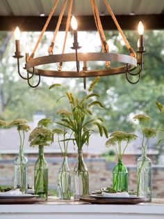 Check out this outdoor chandelier from this newly renovated home on HGTV's Fixer Upper.