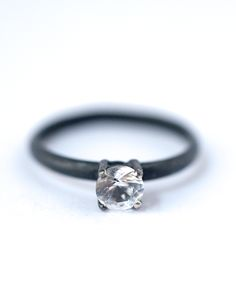 White Sapphire Ring – Oxidized Silver Ring