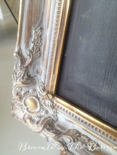 Easiest Makeover ever !  Annie Sloan Old White dry brushed on an old gold frame (framing a chalkboard).  Rubbed back a bit to expose some of the gold.  This took less than 15 minutes to do !  Bella !