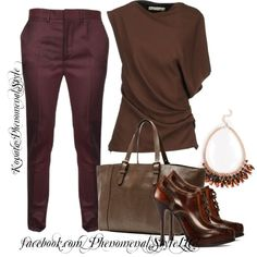 """Burgundy And Brown"" by konata-phenomenalstyle on Polyvore"