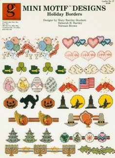Stone Hill Collectibles - 15 Holiday Borders Mini Cross Stitch Patterns Halloween Xmas