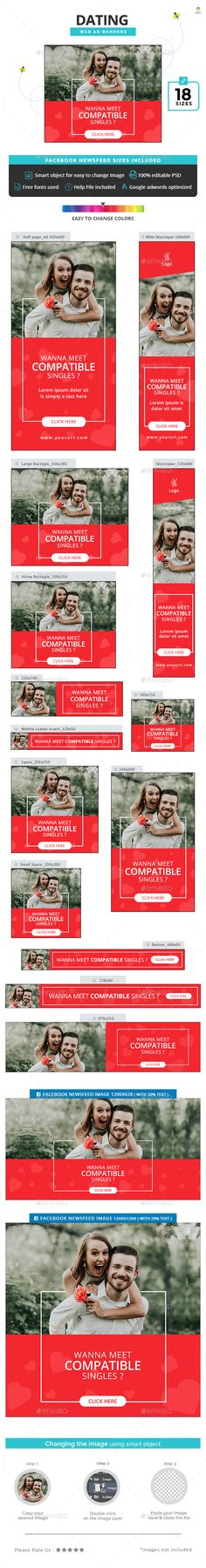 Dating Banners Template PSD #ad #webbanners