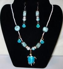 Turquoise, CZ, & Pearl Sea Turtle Necklace & Earrings Set - FREE Shipping!