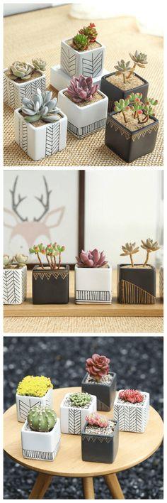 Set of 6 - Simple Style Ceramic Planter Set for Succulent, Mini Planter, Ceramic Planter, Ceramic Pot, Mini Pot, Home decor, Office Decor, gift ideas, #ad #cactus #inspiration #living #homedecor #urbanjungle #cactus #plant
