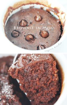 Super quick and easy chocolate fix for any time. Brownie in Mug – Microwave Recipe Generous amount for 1 person Ingredients cup all-purpose flour cup light brown sugar 2 tablespoons unsweetened cocoa powder 2 tablespoons unsalted … … Continue reading → Just Desserts, Delicious Desserts, Dessert Recipes, Yummy Food, 5 Minute Desserts, Single Serve Desserts, Individual Desserts, Mug Cake Receta, Comida Diy
