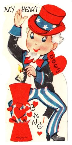 "Patriotic Uncle Sam Lights Firecracker ""My Heart Goes Bang"" Vtg Valentine Card   eBay"