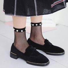 e605015f8 Women Pearl Fishnet Socks Breathable Ruffle Mesh Socks Punk Sexy Lace Ankle  Sock Ankle High Socks