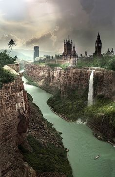 After the Warming, London, England - photo manipulation to project what London would look like if all ice on earth melts