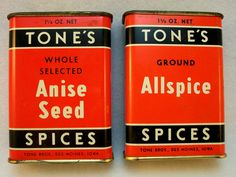 Vintage Tones Spice Tins - company established in Iowa in 1873 - and still there
