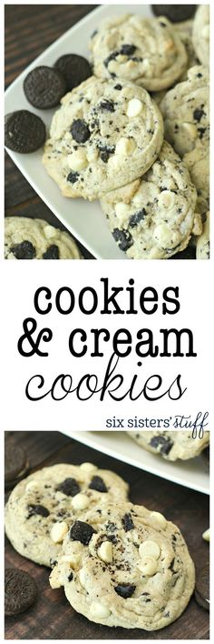 Cookies and Cream Cookies recipe. These cookies are loaded with Oreo's and the secret ingredient is a box of cookies and cream pudding, making them so soft and full of amazing flavor! Brownie Desserts, Just Desserts, Delicious Desserts, Yummy Food, Cheesecake Cookies, Healthy Desserts, Tasty, Amazing Dessert Recipes, Amazing Deserts