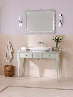 New Bosa 112 vanity and Levanto Mirror in Light Grey with Cabrits 55 basin and New Tubo 17 wall mounted in Polished Chrome