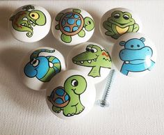 Blues and Greens (Snakes, Lizards, Turtles, Snails, Hippos, Frogs, Alligators) Drawer Pulls / Dresser Knobs / Cabinet Handles / Hand Painted