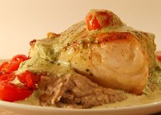 Chilean Sea Bass with Cherry Tomatoes and Basil Mousse