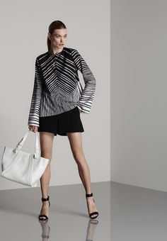 Halston Heritage Look 5 - Spring 2015 - Lookbook.  Black and white striped top lends itself to a high impact look.