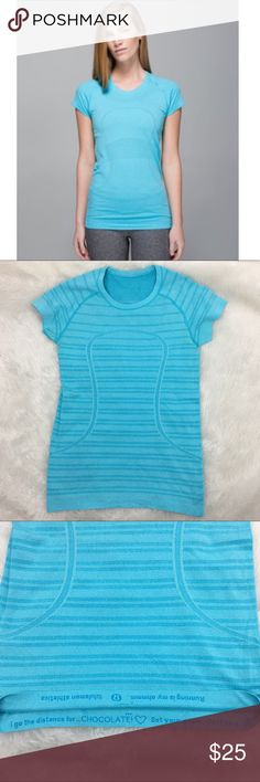 Lululemon Swiftly Tech Seamless Crew Neck Shirt Sneakers? Check. Swiftly tee? Check. Killer run? Check back with us in an hour. seamless construction No side seams—seamless construction in the body minimizes chafing. lightweight no side seams four-way stretch silverescent® technology Silverescent® technology, powered by X-STATIC®, inhibits the growth of odour-causing bacteria on this garment anti-stink Seamless construction: Reduces bulk to help prevent chafing.  Excellent condition…