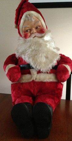 Vintage Santa Claus Large Musical Plush Stuffed Animal Toy 1960's Rubber Face