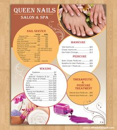 Nail Technician Manicurist Or Nail Salon Menu By Malloryhopedesign
