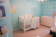 Baby Girl Nursery - Sunshine and Stripes DIY Aqua Nursery with 3D wallpaper tiles