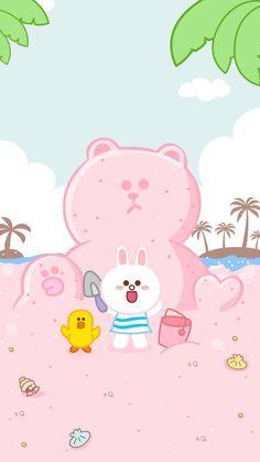 Lines Wallpaper, Kawaii Wallpaper, Wallpaper Iphone Cute, Cartoon Wallpaper, Cute Wallpapers, Wallpaper Backgrounds, Kawaii Art, Kawaii Anime, Line Cony