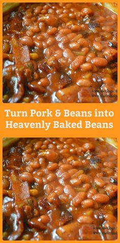 Turning Canned Pork & Beans to Heavenly Baked Beans how to turn canned pork & beans into baked beans Baked Beans Crock Pot, Canned Baked Beans, Best Baked Beans, Slow Cooker Baked Beans, Baked Bean Recipes, Crockpot Recipes, Cooking Recipes, Beans Recipes, Best Pork And Beans Recipe