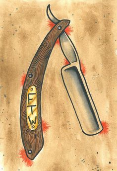 Straight Razor FTW Traditional Tattoo Print by OldeSoulsSundry, $7.00