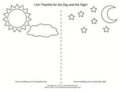 Lesson I Am Thankful for the Day and NightSunbeam Printables - glue clouds on sky. Foil star stickers on night. Bring book about nephites and Christ's birth, Bring star projector. Play games with sunbeam beanbags. Primary Lessons, Lessons For Kids, Bible Lessons, Lds Primary, Bible Story Crafts, Bible School Crafts, Sunbeam Lessons, Teaching Time, Kids Writing
