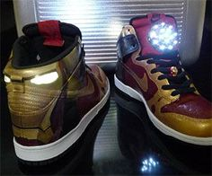 These custom Nike Iron Man light-up shoes were especially made for Tony Stark. These trademark red shoes light up when you walk and feature LED lights that resemble Stark's lifeforce. Perfect for seducing attractive ladies and fighting off evil guys.