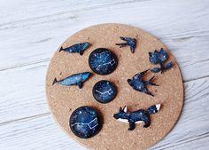 Wooden little big dipper Space Brooch Blue fox whale swallow