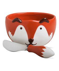 Loving this Cinnamon & Orange Fox Bowl & Spreader on #zulily! #zulilyfinds