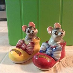 Cute Vintage Mice In Shoes Salt and Pepper Shakers