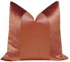 PANEL Monochromatic :: Faux Silk Velvet // Rust Modern Throw Pillows, Diy Pillows, Sofa Pillows, Custom Pillows, Fabric Art, Linen Fabric, Cushion Covers, Pillow Covers, Advanced Aesthetics