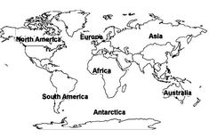 World Map Of All Continents Coloring Page : Kids Play Color