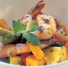 Tropical Fruit, Avocado, and Grilled Shrimp Salad - 60 Best Shrimp Recipes - Coastal Living Best Shrimp Recipes, Shrimp Salad Recipes, Pork Rib Recipes, Seafood Recipes, Healthy Recipes, Shrimp Dishes, Seafood Salad, Gf Recipes, Fish Recipes
