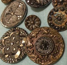 Lot of 36 Victorian Buttons Large Small Black Glass Silver Floral Brass
