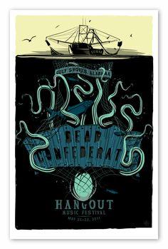 "Dead Confederate - ""Octopus"" Hangout Music Festival Poster - by Charles Crisler / 27designco.com"
