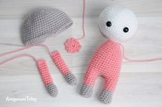 Amigurumi doll in butterfly costume pattern - doll parts
