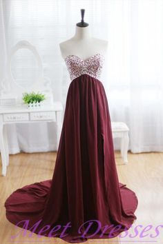 Burgundy Prom Dresses A Line Sweetheart Silver Beads Slit Side Long Chiffon Wine Red Formal Gowns  - Thumbnail 2