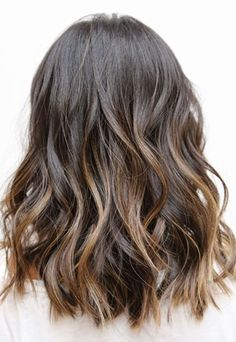 Brunette lob with ombré highlights. Hair goals!