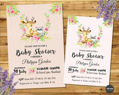 Celebrate the pending arrival of your baby girl with these whimsical watercolour Woodland Baby Shower personalised invitations. Our Woodland Baby Shower invitations are professionally printed on quality photo papers, free self-adhesive magnets included. | eBay!