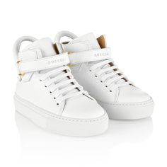 Buscemi White Leather High Top Trainers
