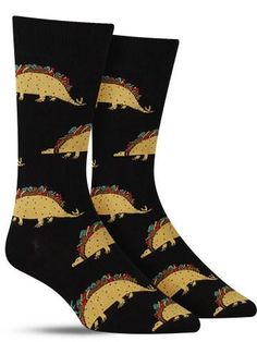 """Dragons love tacos"". Combining your two favorite things: wickedly awesome dinosaurs and scrumptiously juicy tacos. Don't wait until Tuesday to rock this pair of cool taco socks!"